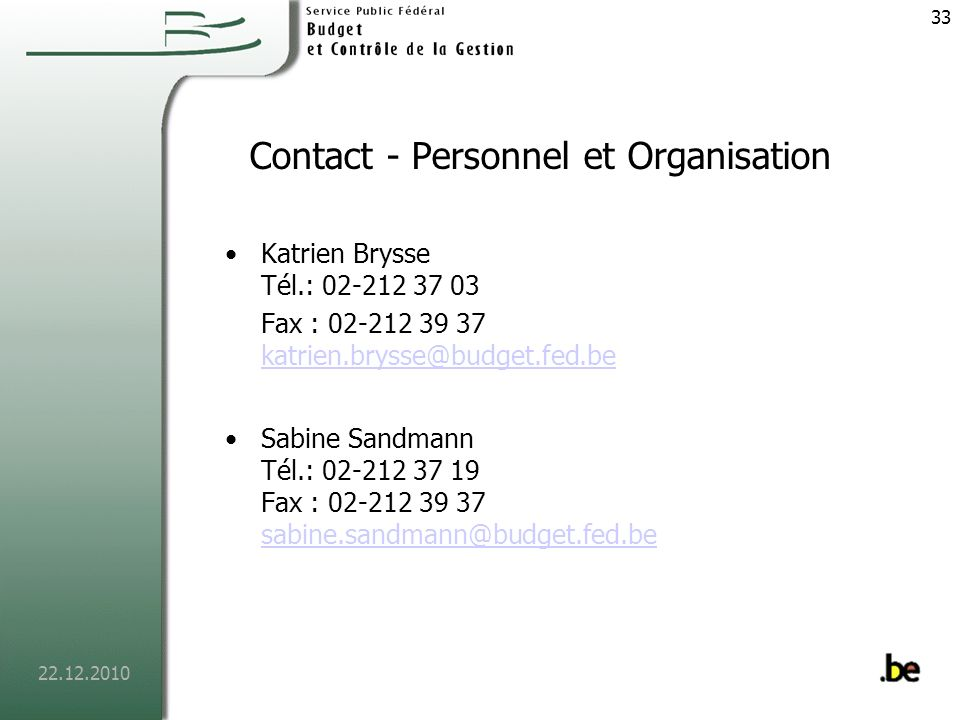 Contact - Personnel et Organisation