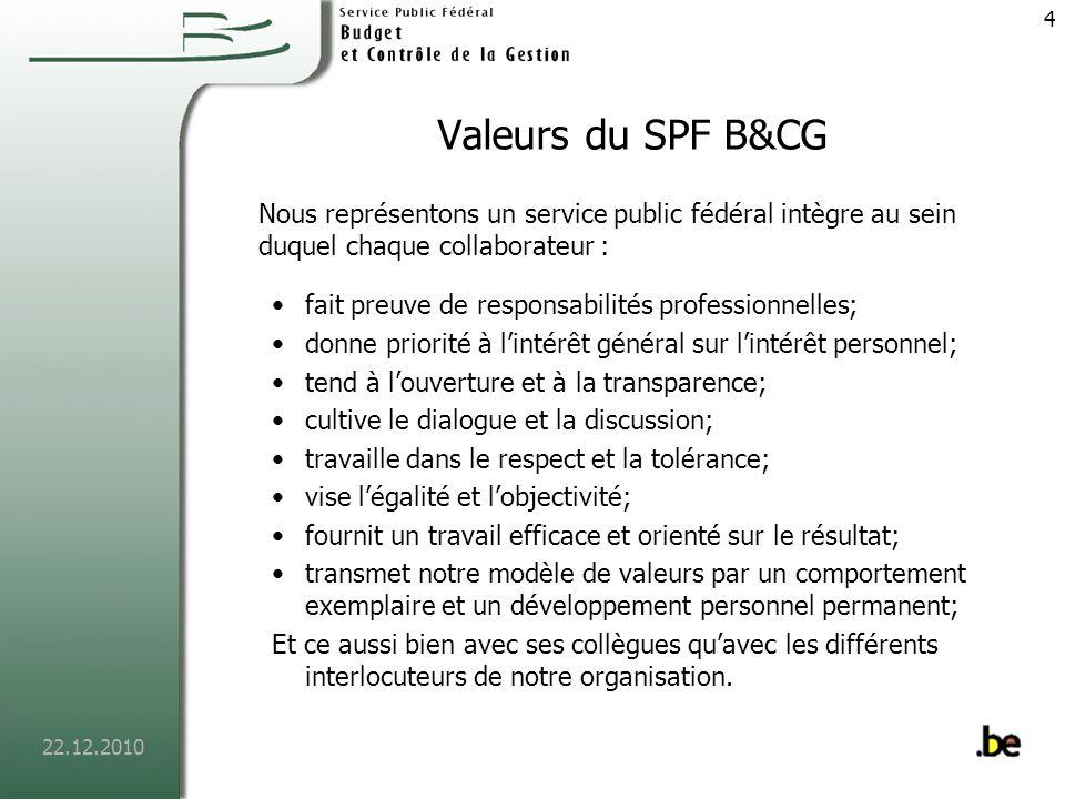 Valeurs du SPF B&CG Nous représentons un service public fédéral intègre au sein duquel chaque collaborateur :