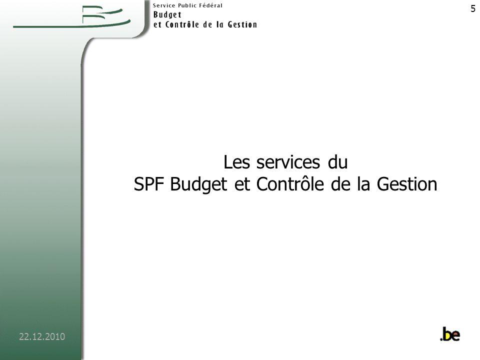 Les services du SPF Budget et Contrôle de la Gestion