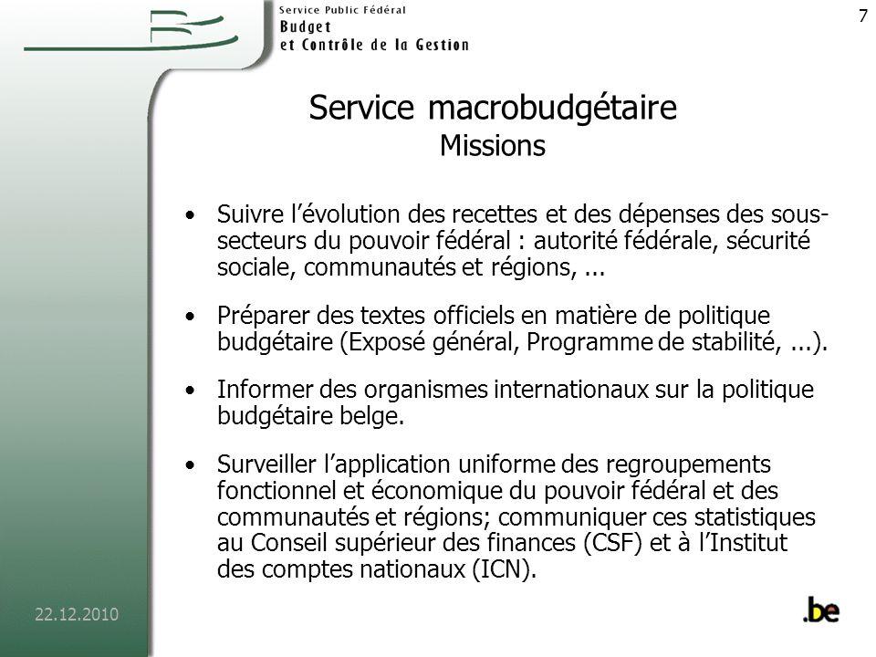 Service macrobudgétaire Missions