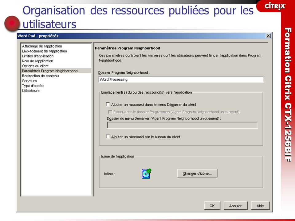 Organisation des ressources publiées pour les utilisateurs