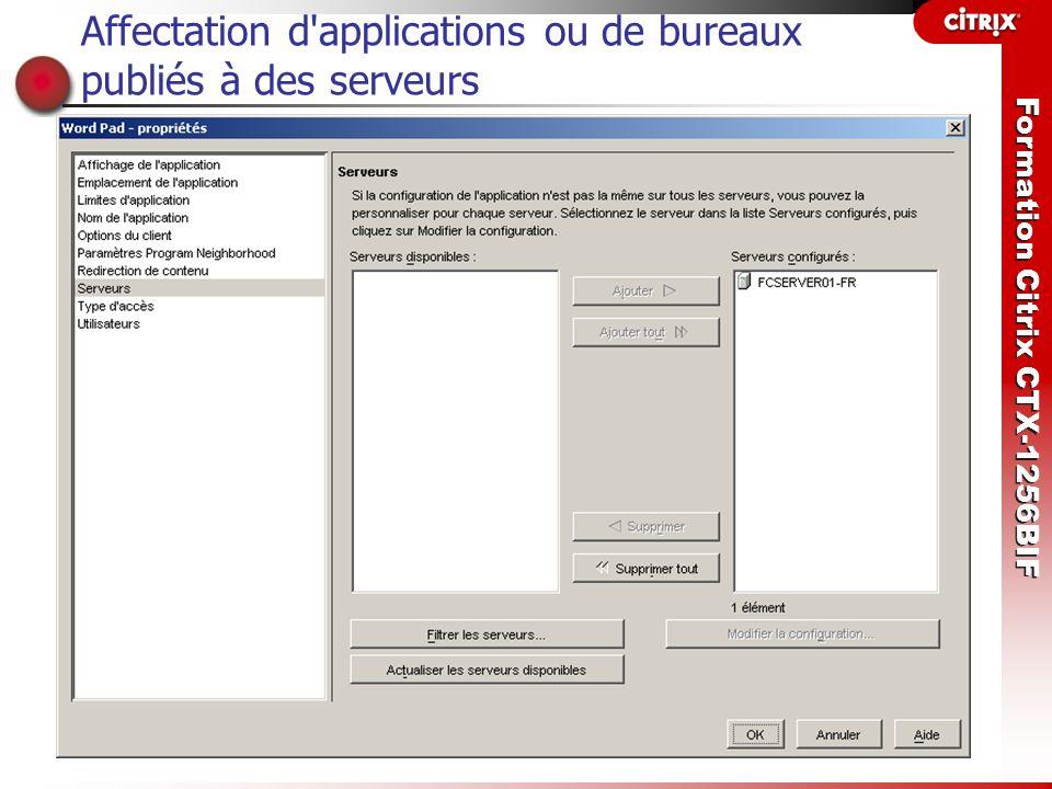 Affectation d applications ou de bureaux publiés à des serveurs