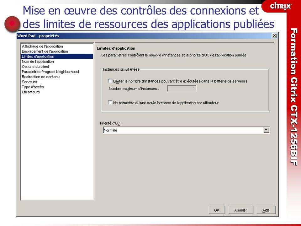 Mise en œuvre des contrôles des connexions et des limites de ressources des applications publiées