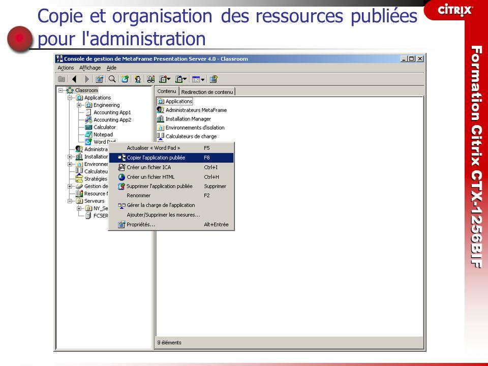 Copie et organisation des ressources publiées pour l administration
