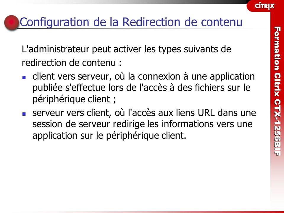 Configuration de la Redirection de contenu