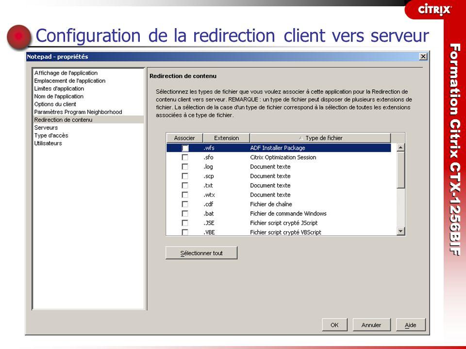 Configuration de la redirection client vers serveur