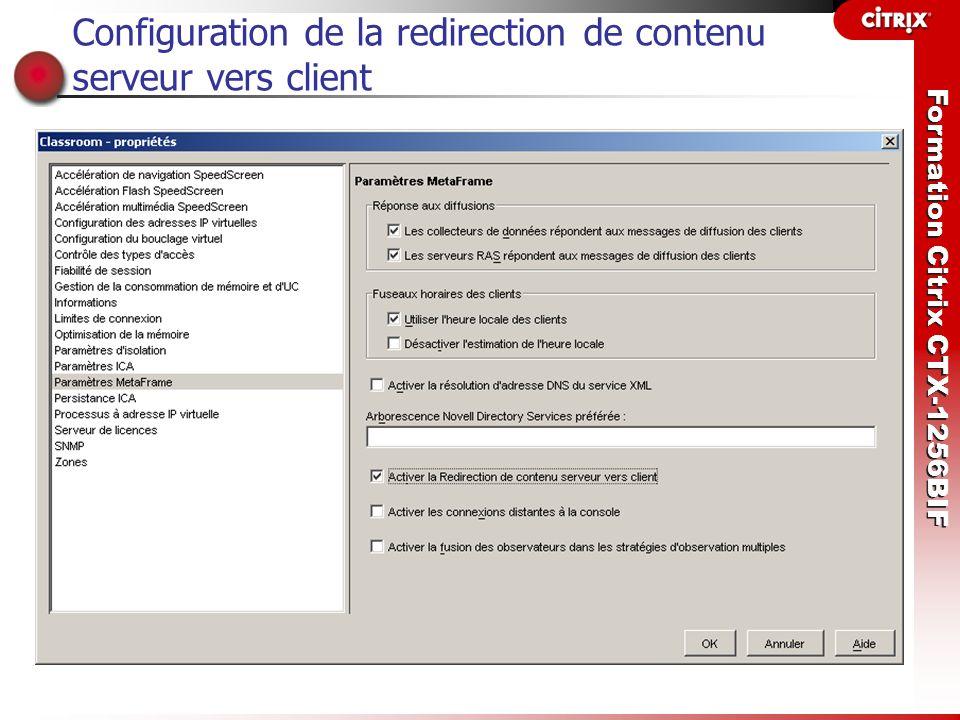 Configuration de la redirection de contenu serveur vers client