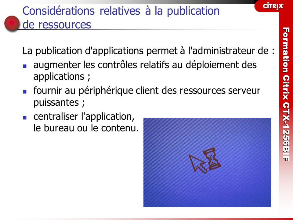Considérations relatives à la publication de ressources
