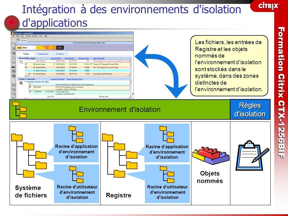 Intégration à des environnements d isolation d applications