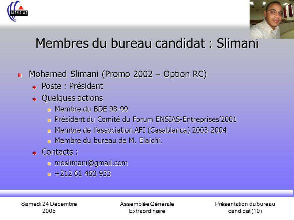 Membres du bureau candidat : Slimani
