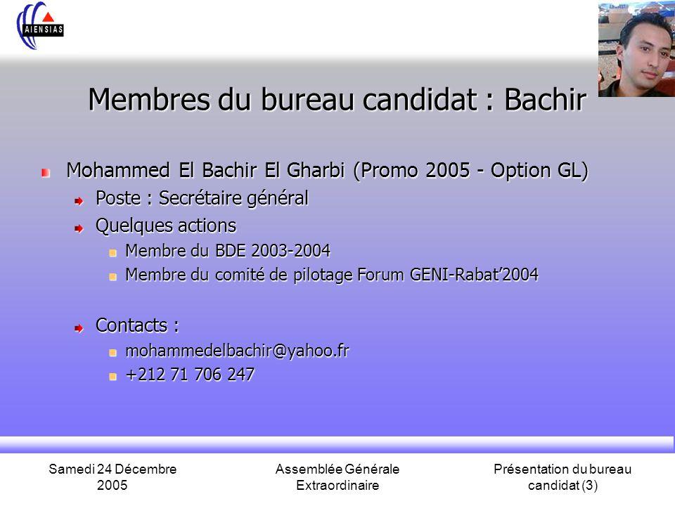 Membres du bureau candidat : Bachir