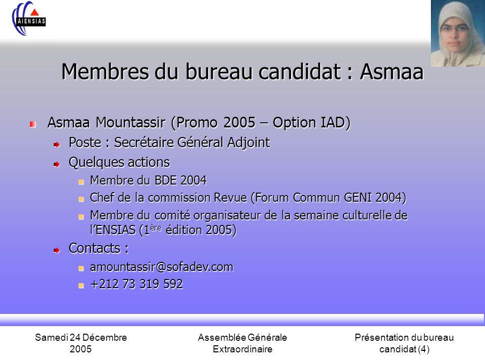 Membres du bureau candidat : Asmaa