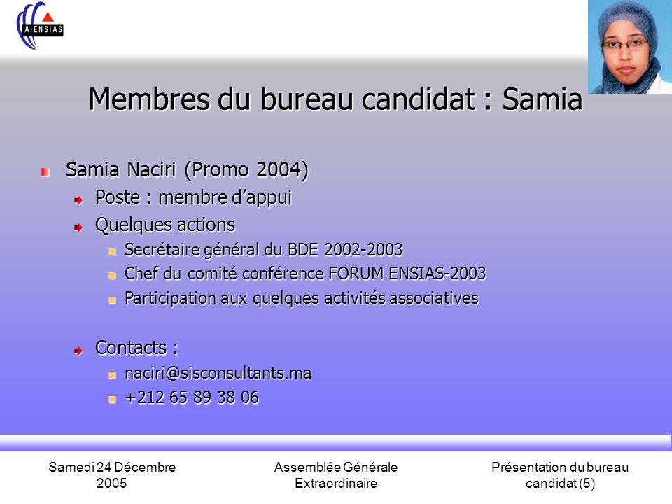 Membres du bureau candidat : Samia