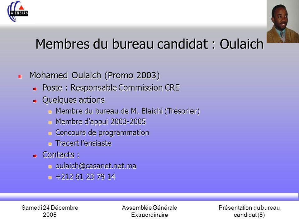 Membres du bureau candidat : Oulaich