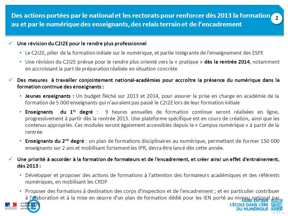 Des actions portées par le national et les rectorats pour renforcer dès 2013 la formation au et par le numérique des enseignants, des relais terrain et de l'encadrement