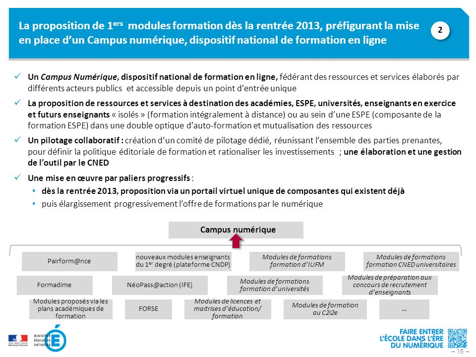 La proposition de 1ers modules formation dès la rentrée 2013, préfigurant la mise en place d'un Campus numérique, dispositif national de formation en ligne