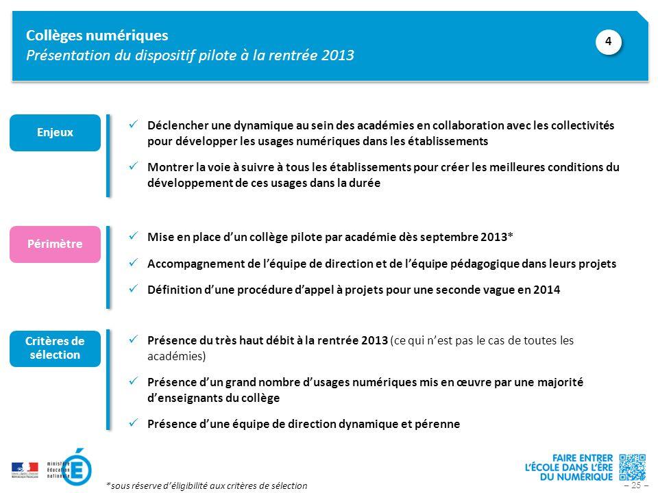 Collèges numériques Présentation du dispositif pilote à la rentrée 2013