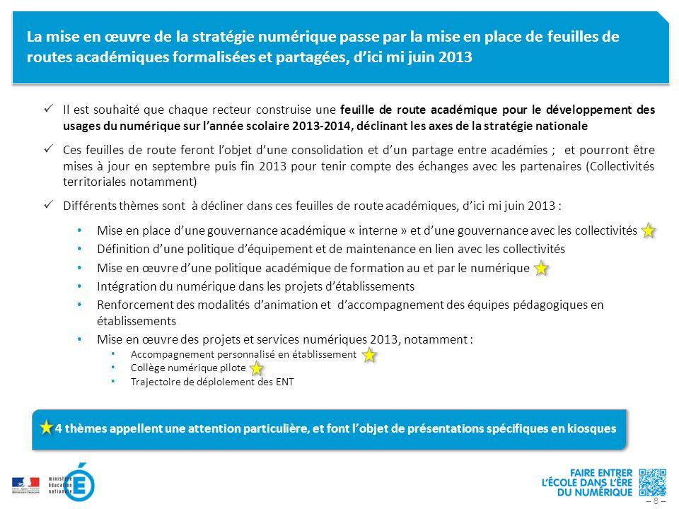La mise en œuvre de la stratégie numérique passe par la mise en place de feuilles de routes académiques formalisées et partagées, d'ici mi juin 2013