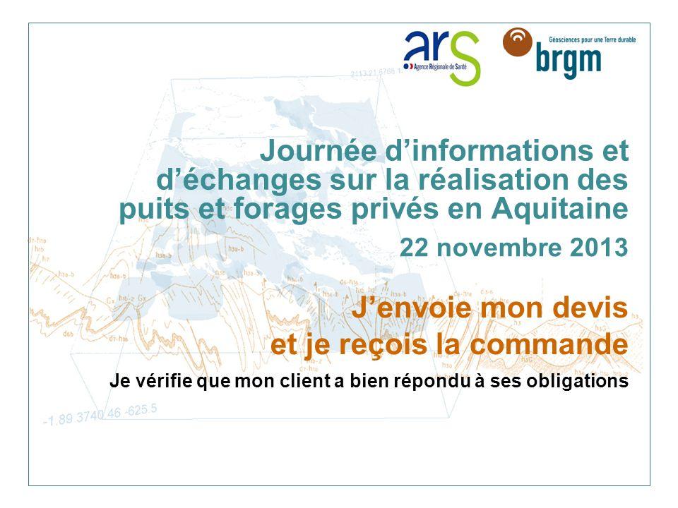 Journée d'informations et d'échanges sur la réalisation des puits et forages privés en Aquitaine