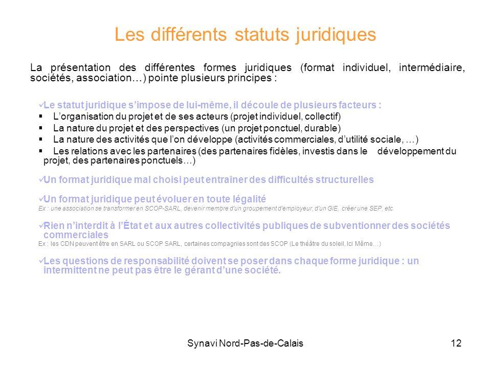 Les différents statuts juridiques