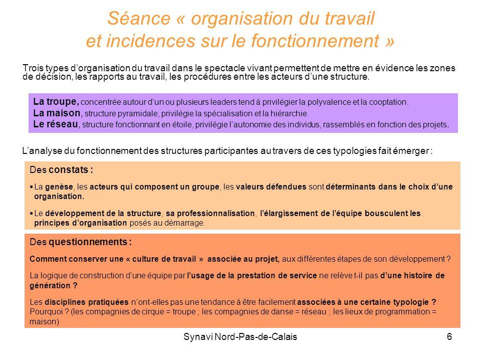 Séance « organisation du travail et incidences sur le fonctionnement »