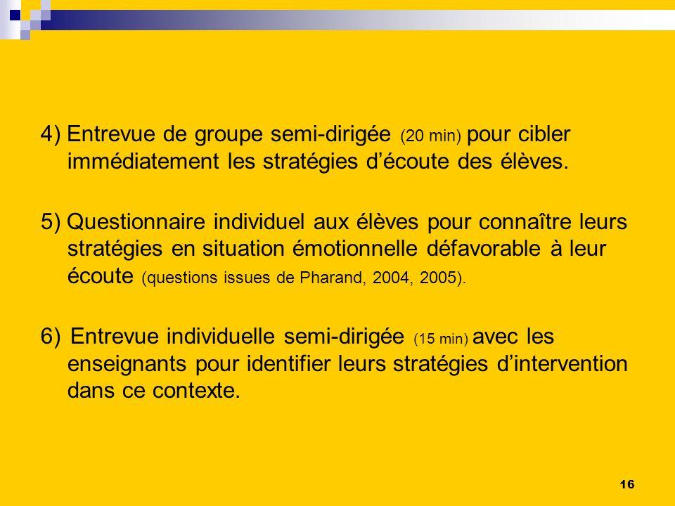 4) Entrevue de groupe semi-dirigée (20 min) pour cibler immédiatement les stratégies d'écoute des élèves.
