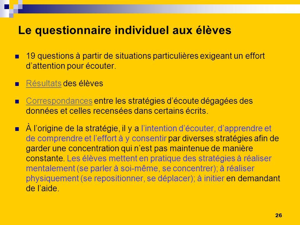 Le questionnaire individuel aux élèves