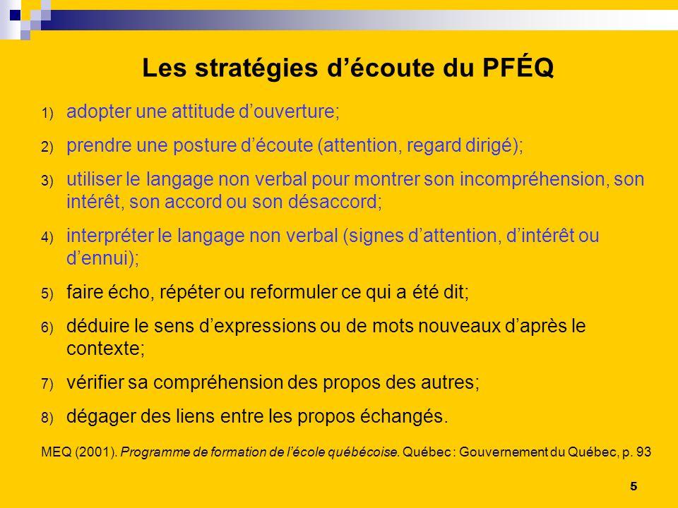 Les stratégies d'écoute du PFÉQ
