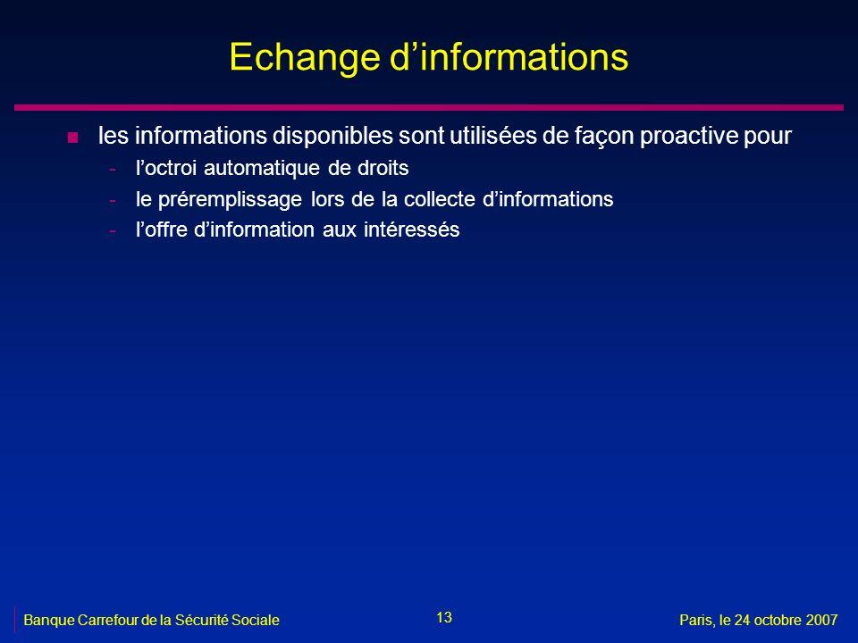 Echange d'informations