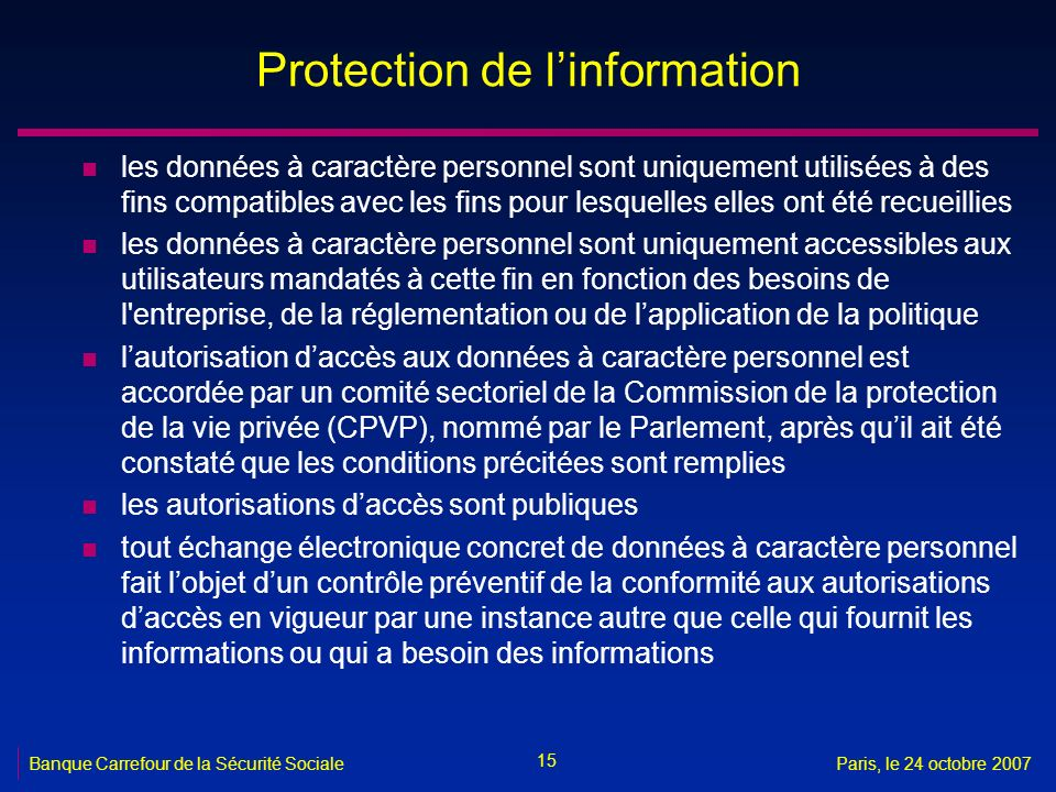 Protection de l'information