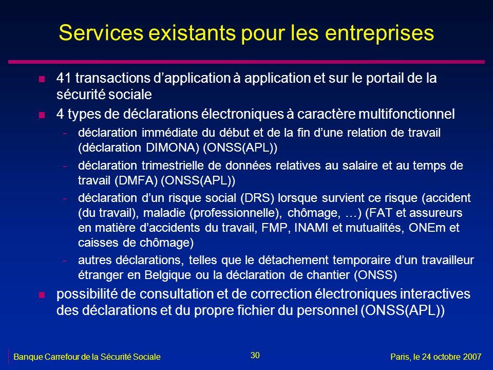 Services existants pour les entreprises