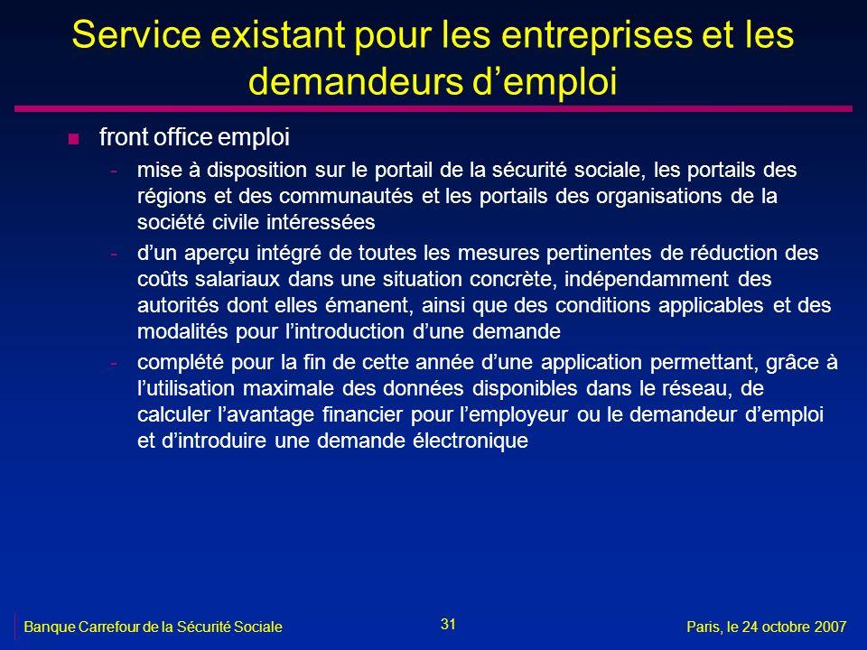 Service existant pour les entreprises et les demandeurs d'emploi