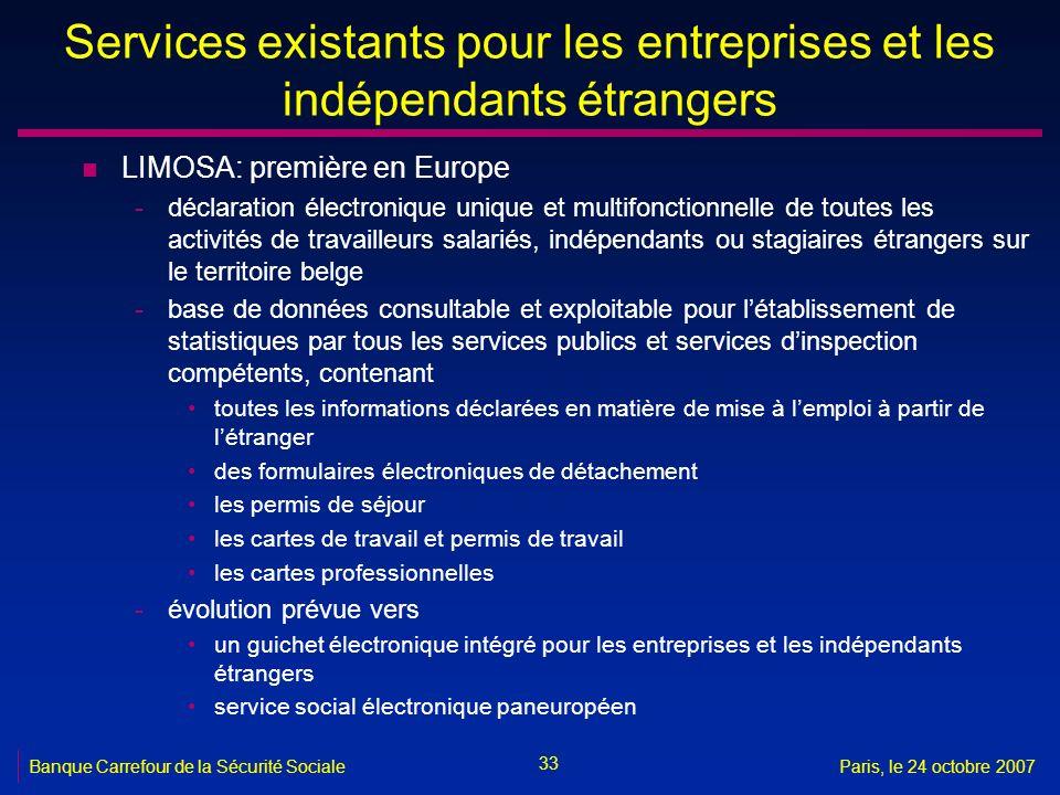 Services existants pour les entreprises et les indépendants étrangers
