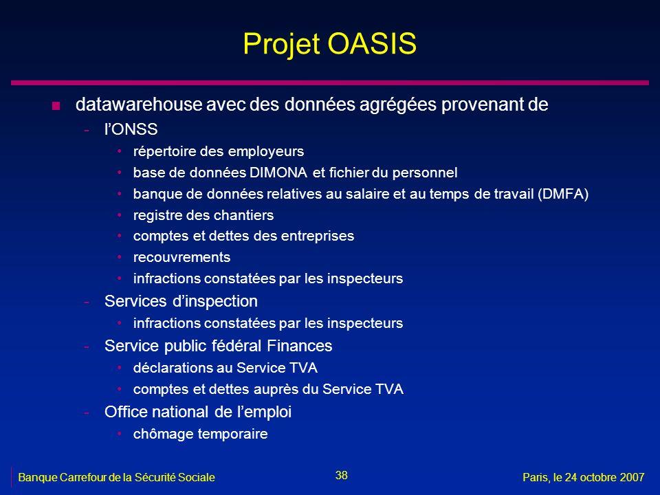 Projet OASIS datawarehouse avec des données agrégées provenant de
