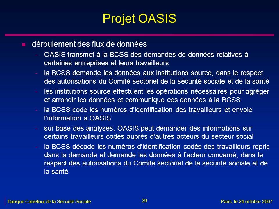 Projet OASIS déroulement des flux de données