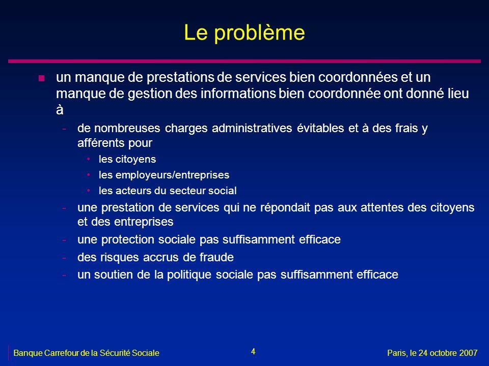 Le problème un manque de prestations de services bien coordonnées et un manque de gestion des informations bien coordonnée ont donné lieu à.