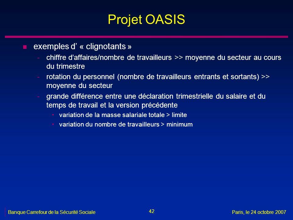 Projet OASIS exemples d' « clignotants »
