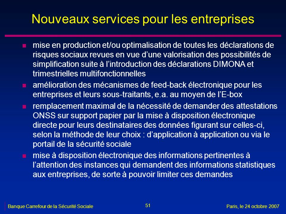 informations sur application de la mthode