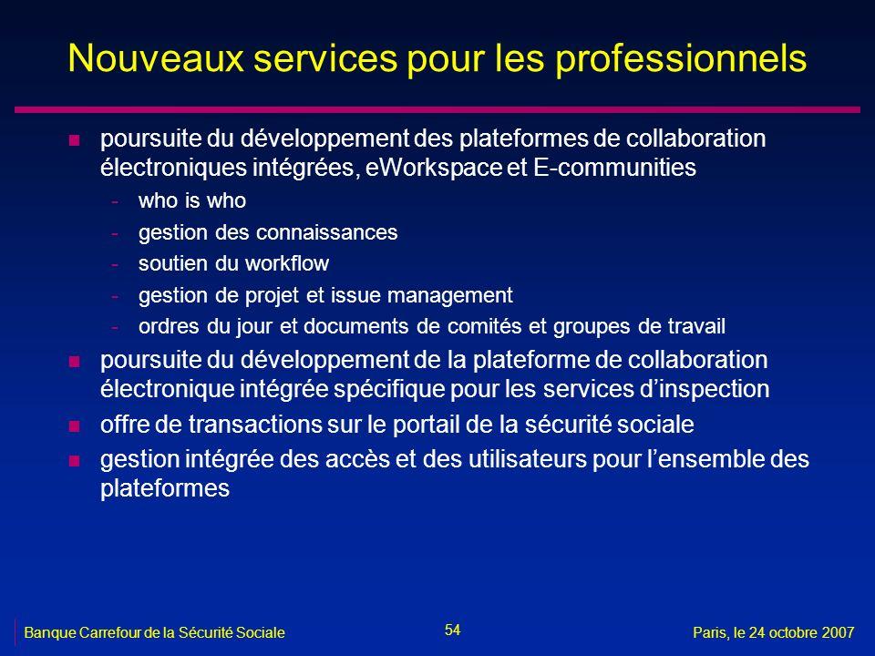 Nouveaux services pour les professionnels