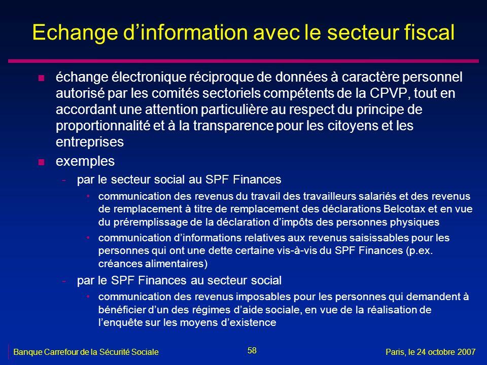 Echange d'information avec le secteur fiscal