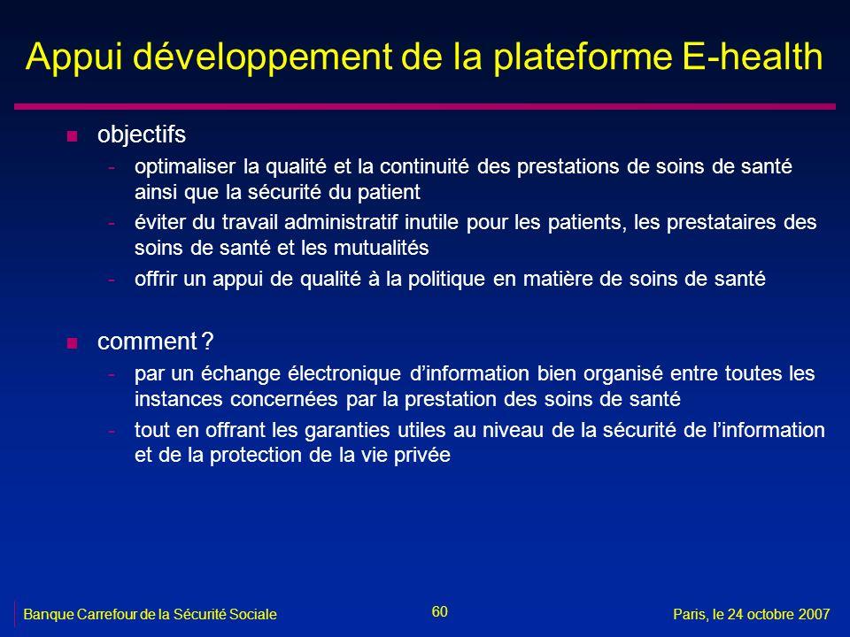 Appui développement de la plateforme E-health