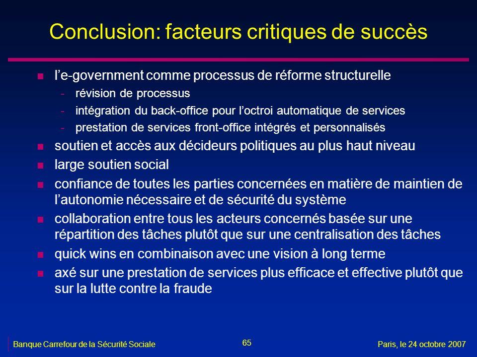 Conclusion: facteurs critiques de succès