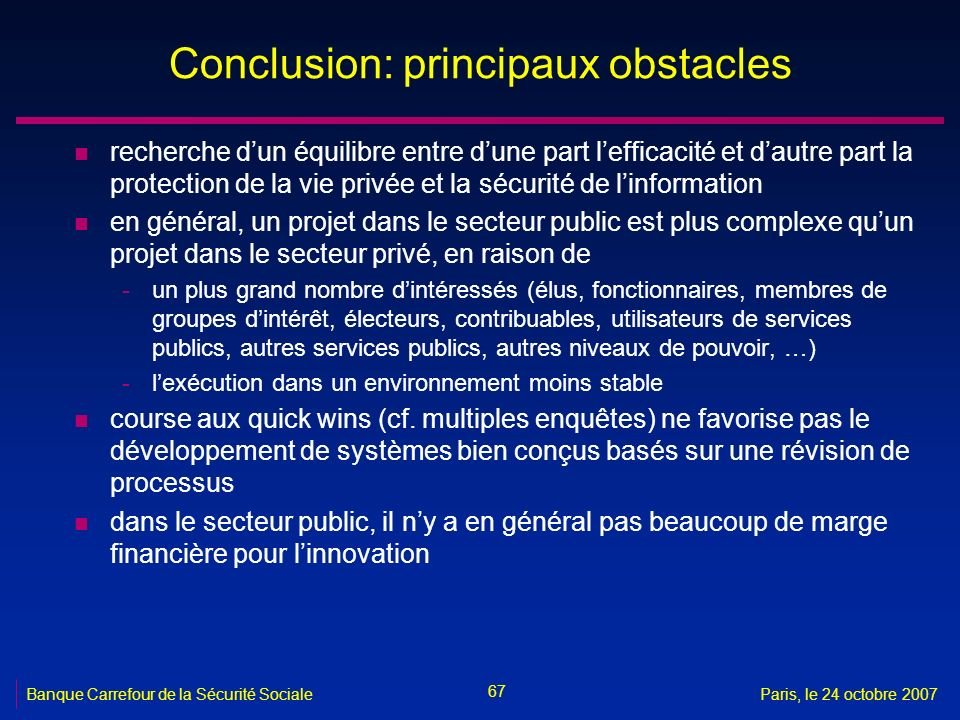 Conclusion: principaux obstacles