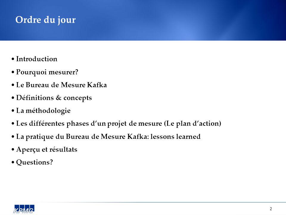 Ordre du jour Introduction Pourquoi mesurer Le Bureau de Mesure Kafka