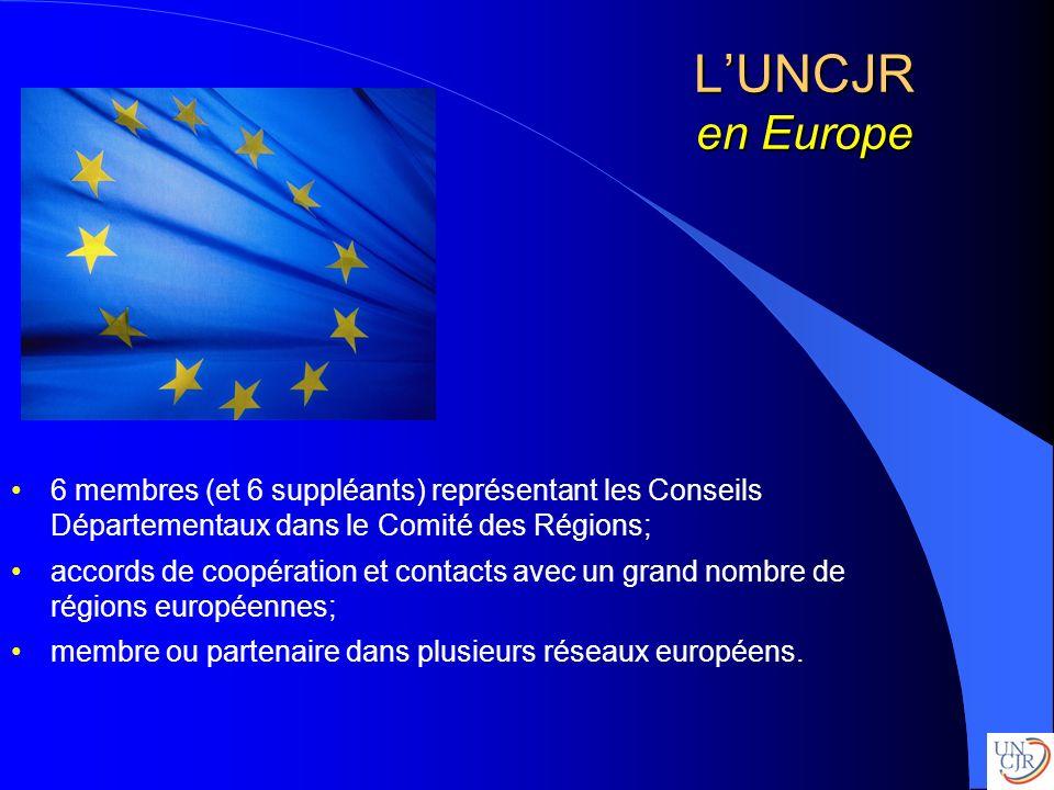 L'UNCJR en Europe 6 membres (et 6 suppléants) représentant les Conseils Départementaux dans le Comité des Régions;