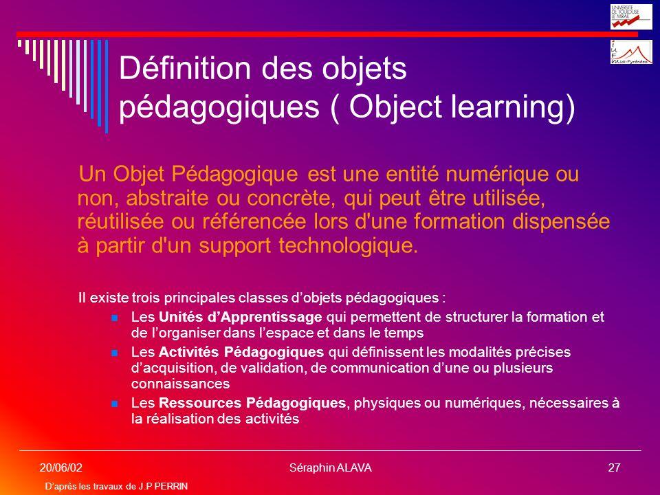 Définition des objets pédagogiques ( Object learning)