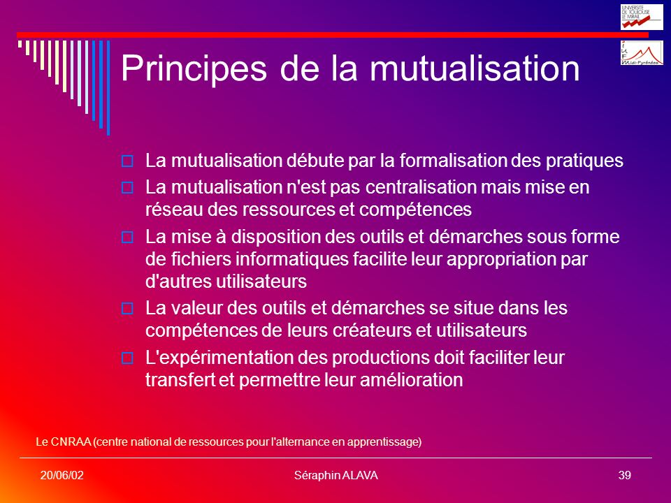 Principes de la mutualisation