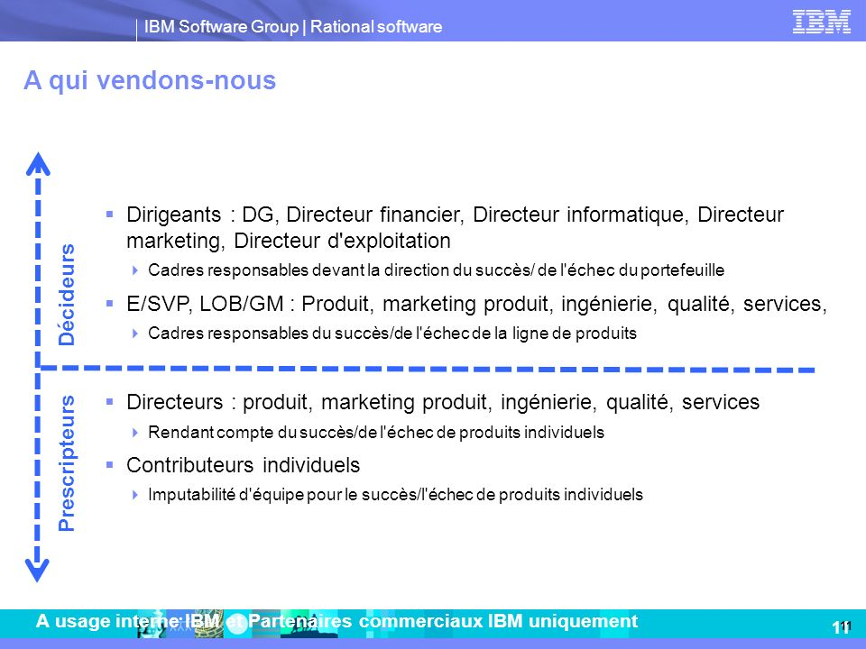A qui vendons-nous Dirigeants : DG, Directeur financier, Directeur informatique, Directeur marketing, Directeur d exploitation.