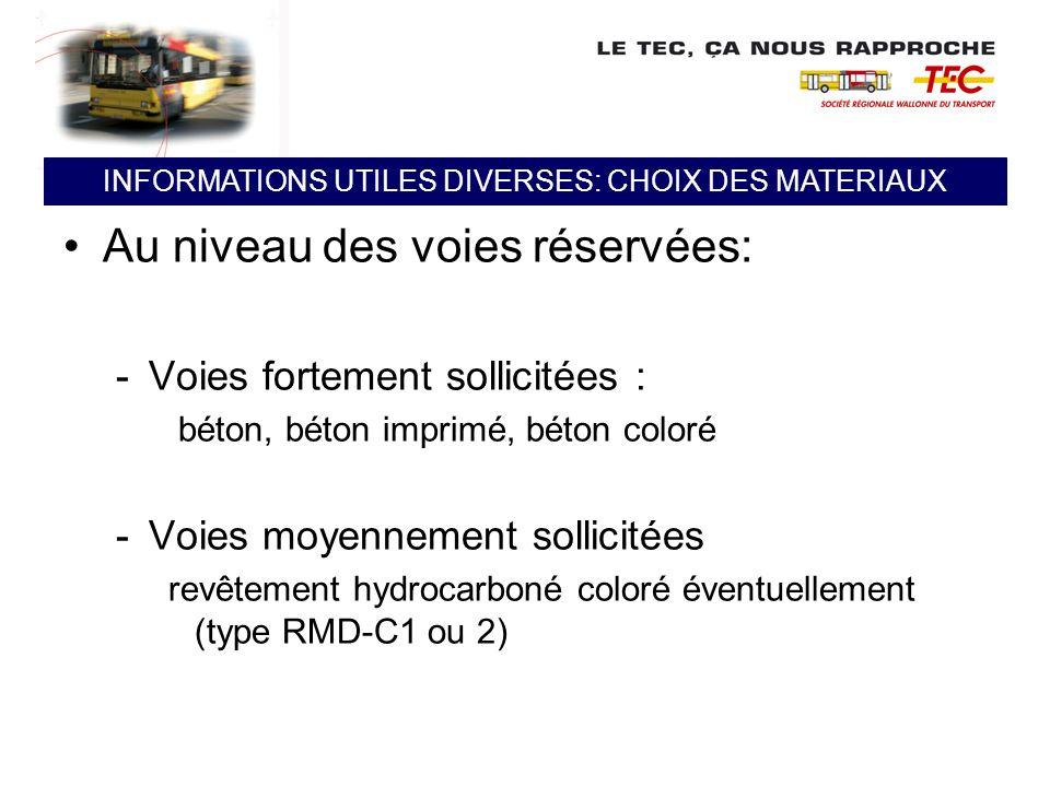 INFORMATIONS UTILES DIVERSES: CHOIX DES MATERIAUX