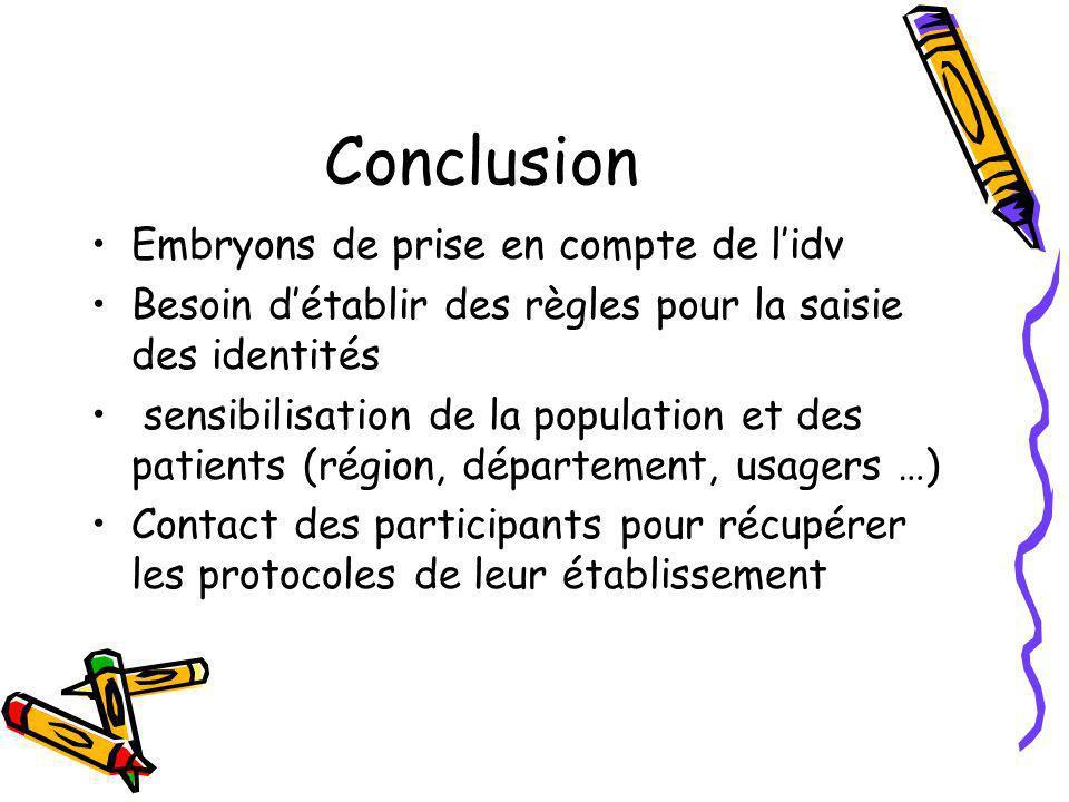 Conclusion Embryons de prise en compte de l'idv